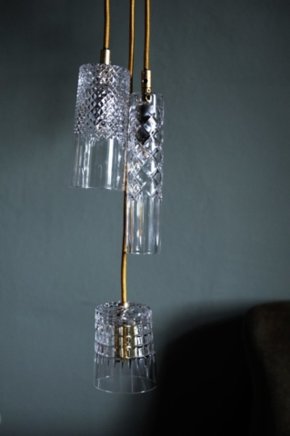 Crystal lamps by ebb & flow with gold wire
