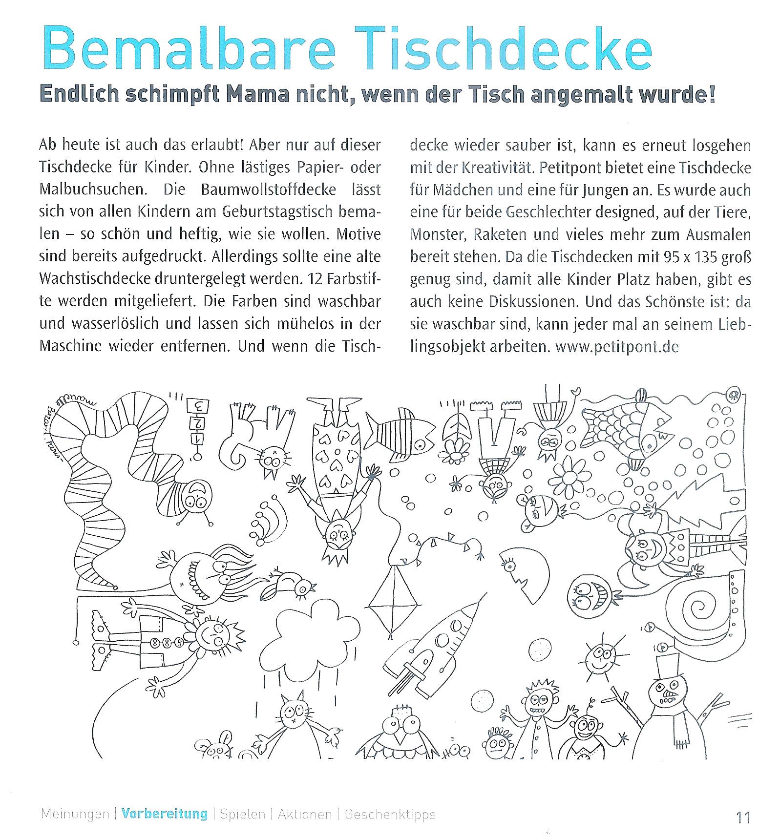 Label Tour- bemalbare Tischdecke, Copyright Clic Clac Verlag