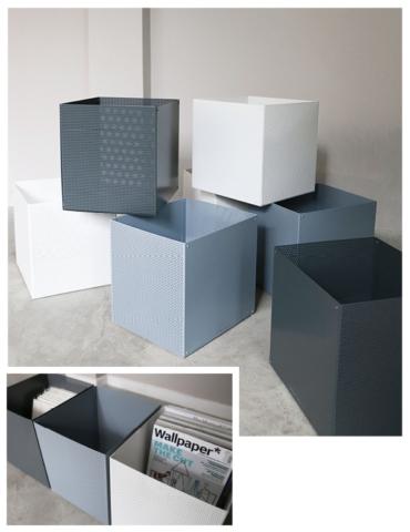 Aufbewahrungsbox aus gelochtem Metall von Anne Linde