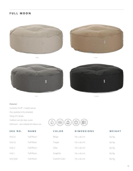 Skandinavische Sitzsäcke und Liegesäcke in rund und vier Farben