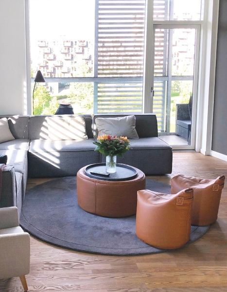 Sitzsäcke aus Leder im Wohnzimmer