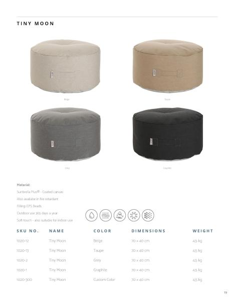 Skandinavische Sitzsäcke und Beistelltische in vier Trendfarben