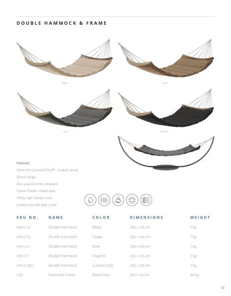 Wetterfeste Hängematten mit Metallgestell von Trimm Copenhagen.